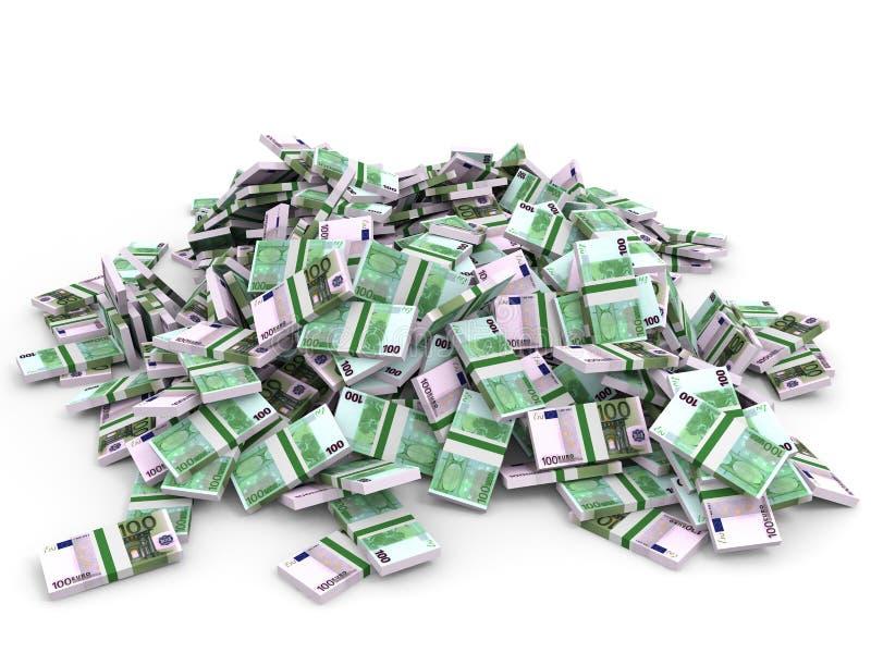 Montão do dinheiro Cem euro ilustração do vetor