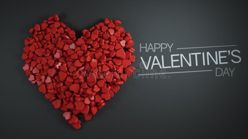 Montão feliz do dia do ` s do Valentim da rendição vermelha da forma 3D do coração ilustração do vetor
