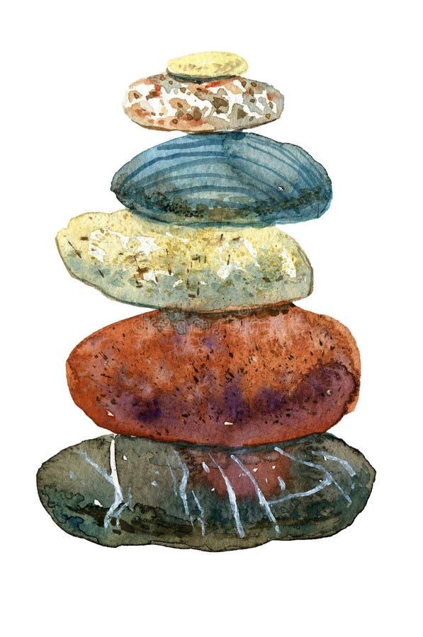Montão tirado mão da aquarela das pedras ilustração stock