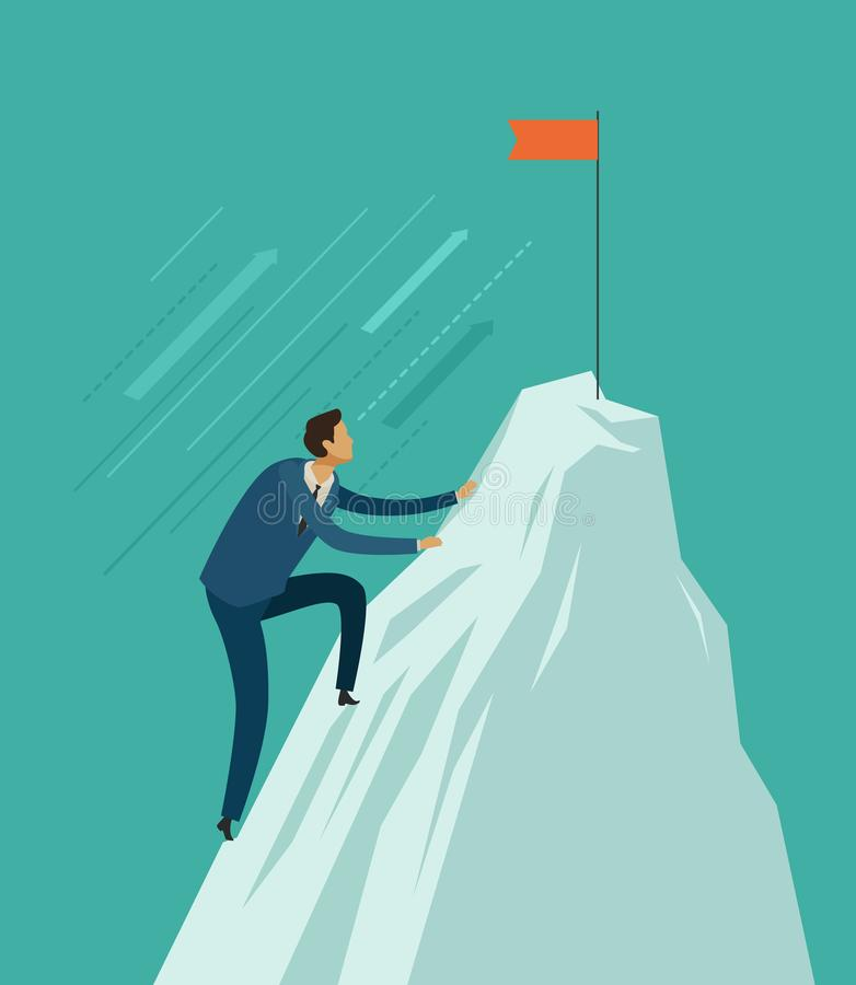 Montée d'homme d'affaires jusqu'au dessus de la montagne Atteindre le but, concept d'affaires Illustration de vecteur illustration de vecteur
