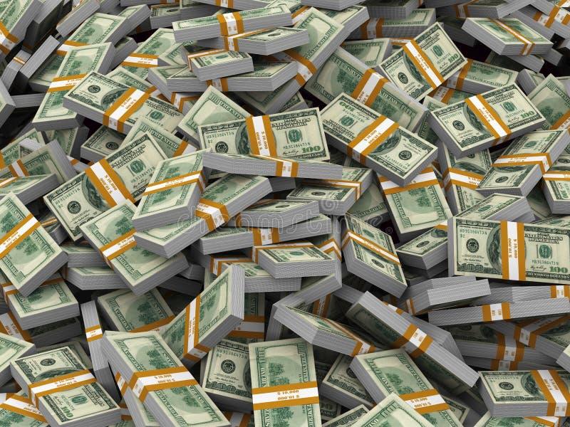 montón 3d de los paquetes del dólar ilustración del vector