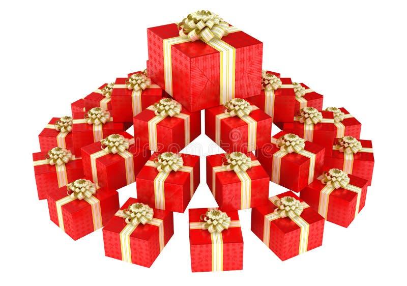 Montón cónico de los rectángulos de regalo rojos ilustración del vector