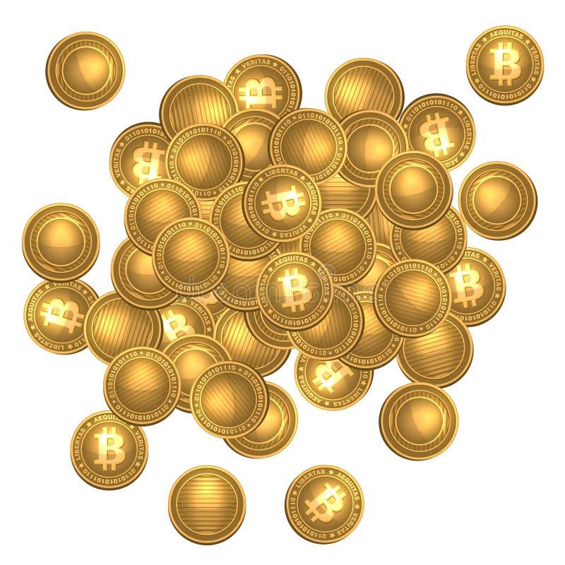Montón de Bitcoins aislado en blanco stock de ilustración