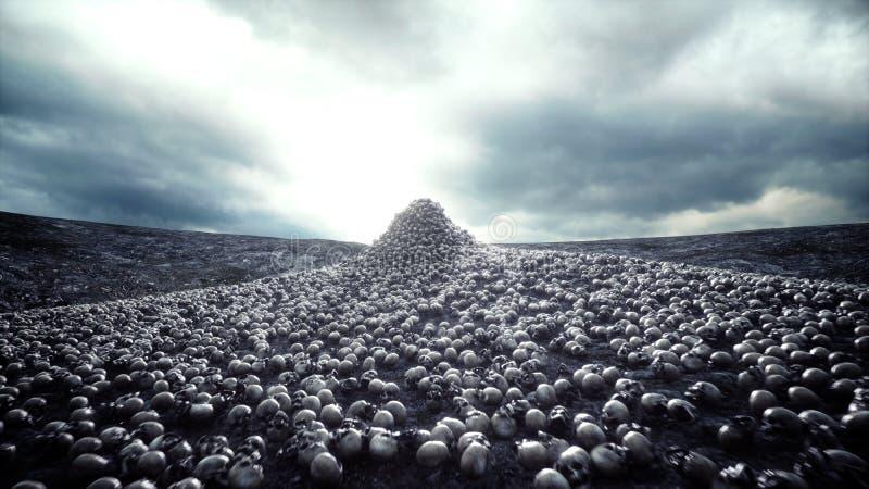 Montón de cráneos Concepto de la apocalipsis y del infierno representación 3d stock de ilustración