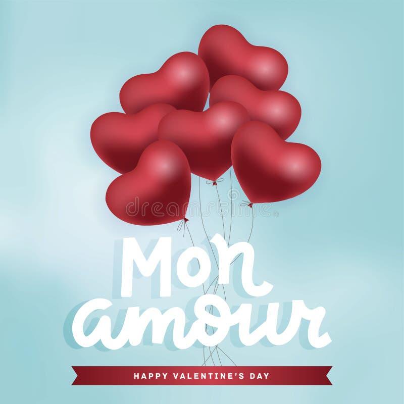 Montón de globos de aire rojo volando en el cielo Feliz Día de San Valentín con qoute con letras a mano - Mon Amour stock de ilustración