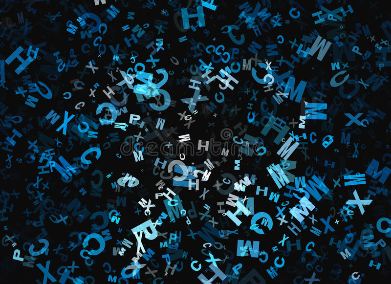 Montón de la letra caótica del alfabeto del vuelo abstracto libre illustration