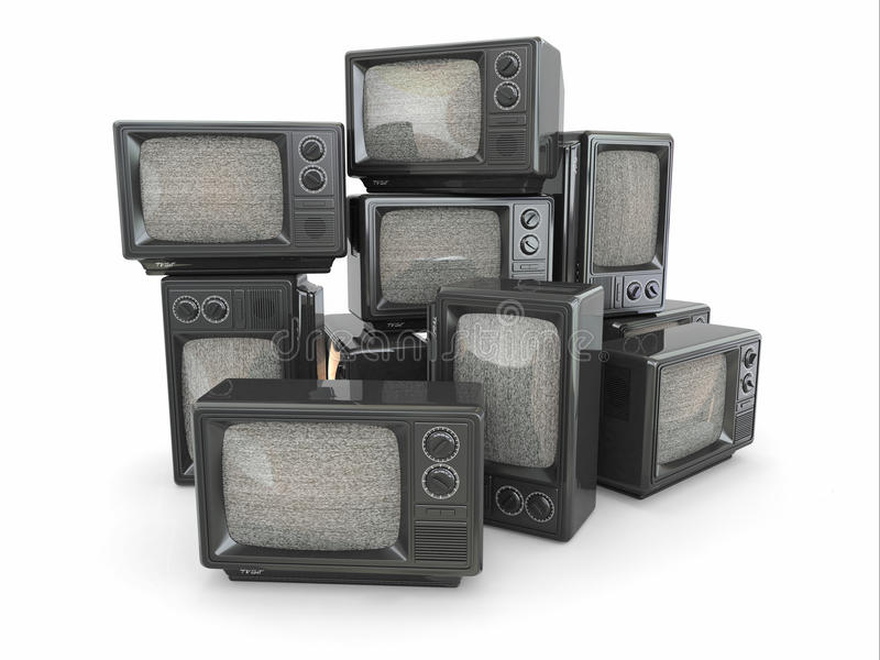 Montón de la vendimia TV. Extremo de la televisión stock de ilustración