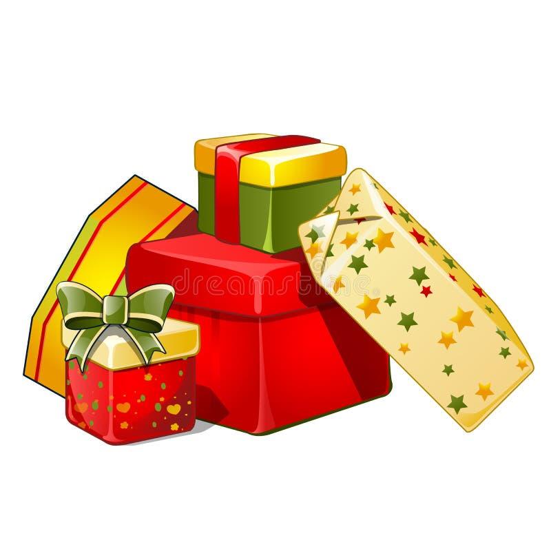 Montón de las cajas de regalo con el arco de la cinta, papel envuelto colorido, aislado en el fondo blanco Bosquejo para la tarje ilustración del vector