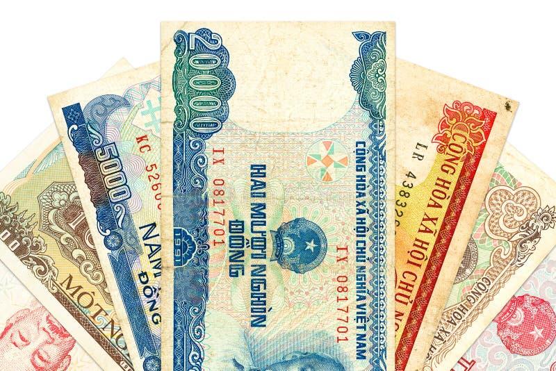 Montón de los billetes de banco de Dong del vietnamita imagen de archivo