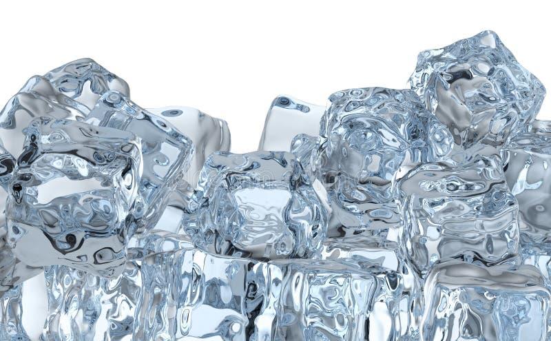 Montón de los cubos de hielo stock de ilustración
