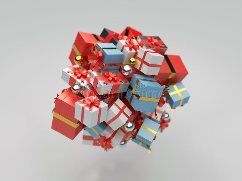 Montón de los rectángulos de regalo stock de ilustración