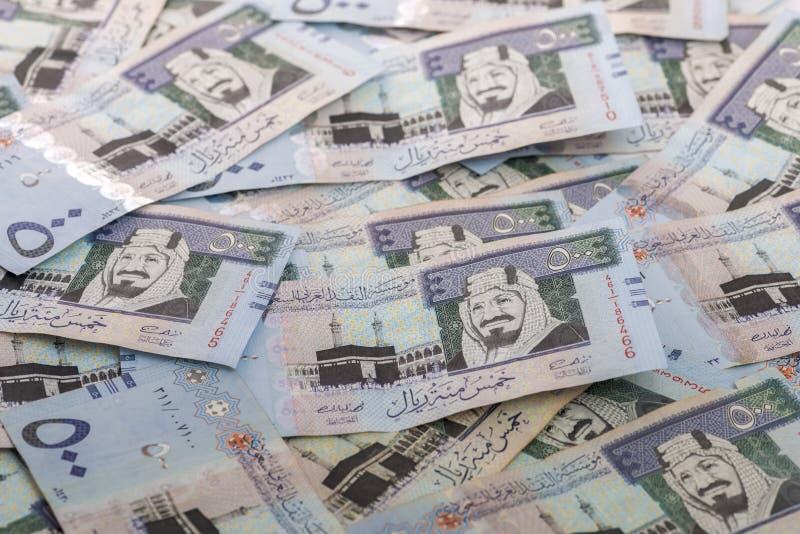 Montón de los Riyals del saudí imagenes de archivo