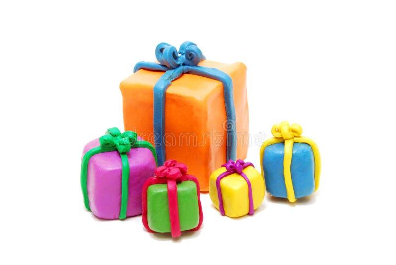 Montón de los varios regalos de la Navidad foto de archivo
