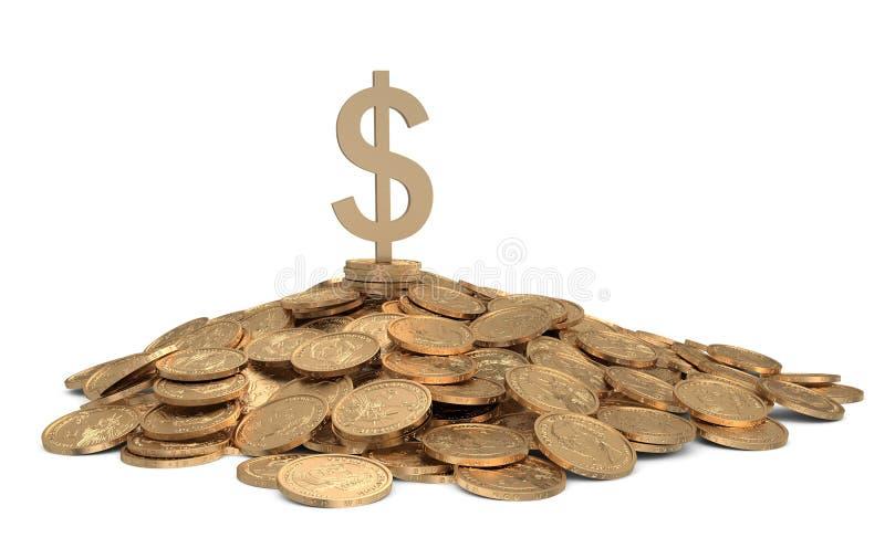 Montón de monedas con la muestra del dólar stock de ilustración