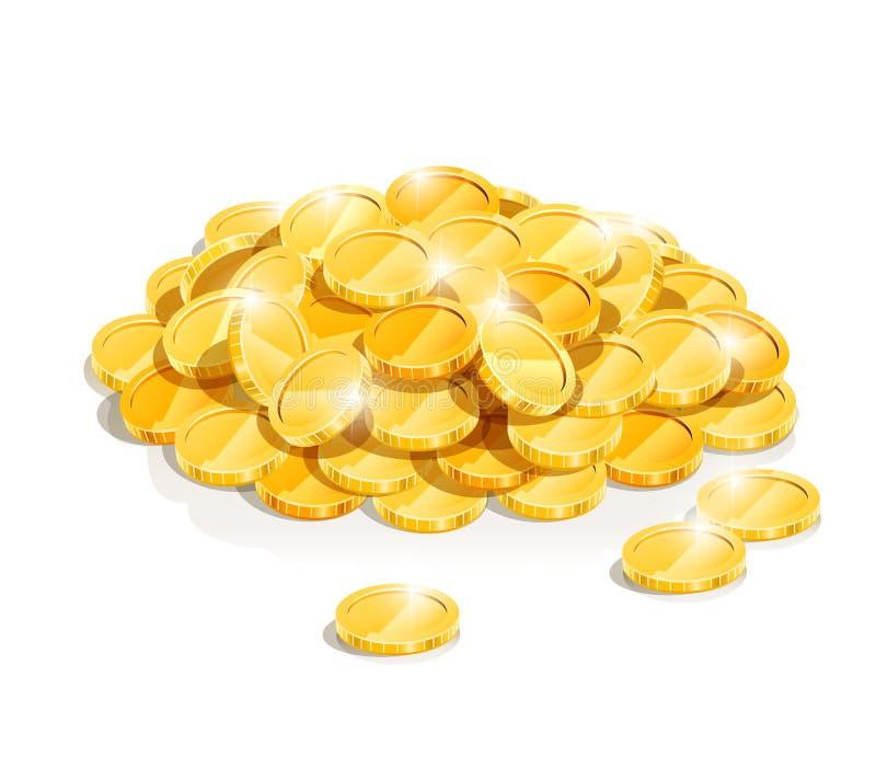 Montón de oro de la moneda ilustración del vector