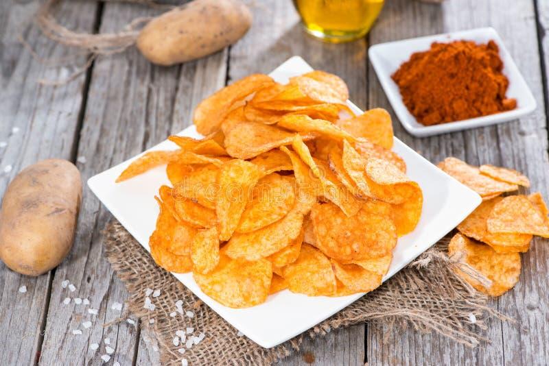 Montón de Paprika Potato Chips fotos de archivo libres de regalías