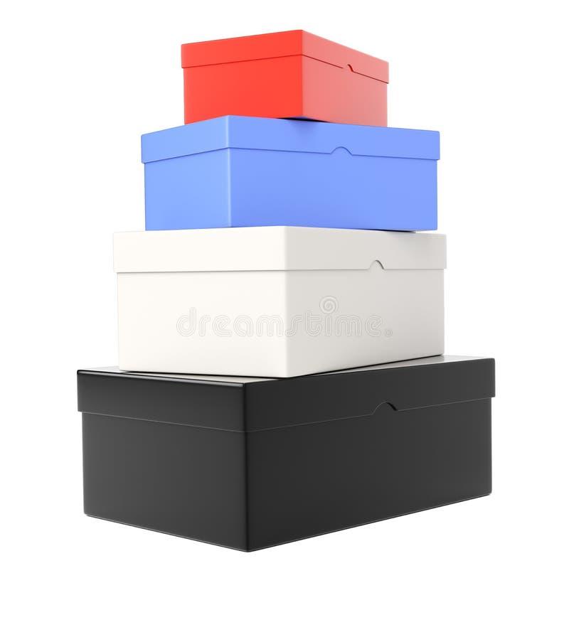 Montón de shoeboxes coloreados ilustración del vector