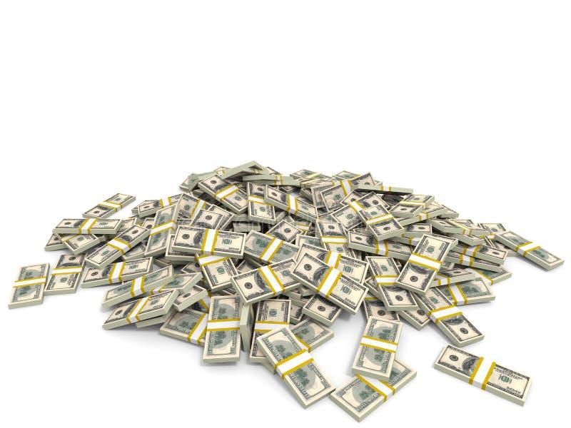 Montón del dinero Cientos dólares ilustración del vector