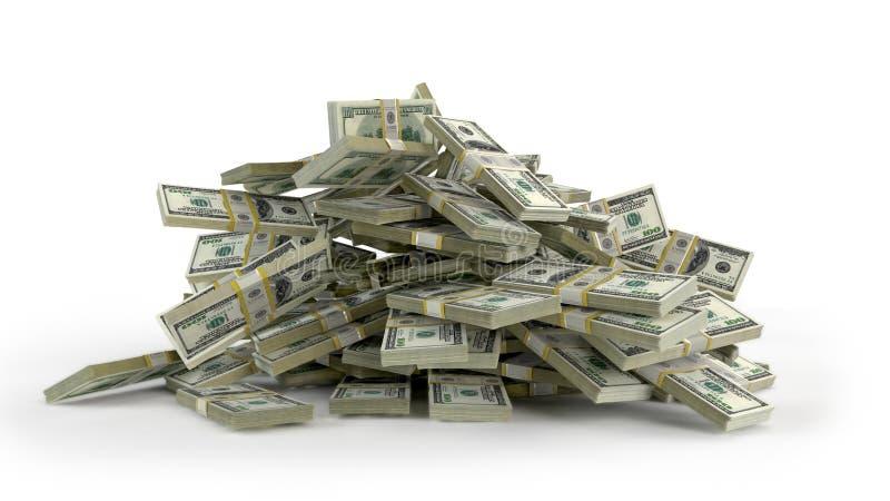 Montón del dinero en el fondo blanco ilustración del vector