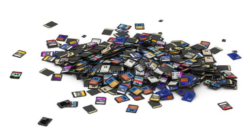Montón del SD y de las tarjetas de memoria de MicroSD ilustración del vector