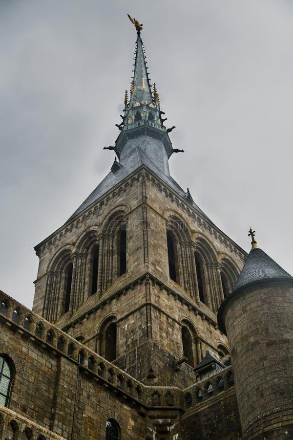 Mont圣米歇尔修道院塔 免版税库存照片