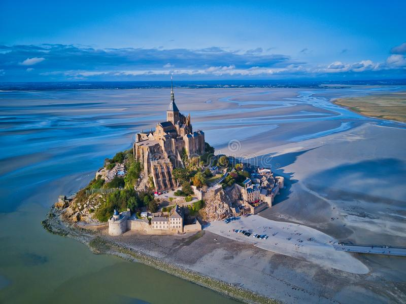 Mont圣米歇尔海湾的顶视图,诺曼底法国 免版税库存图片