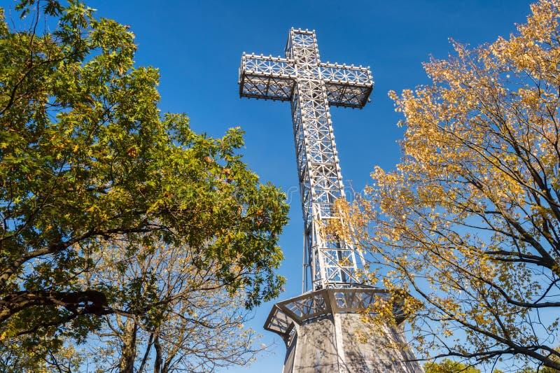 Mont-βασιλικός σταυρός του Μόντρεαλ στοκ εικόνες