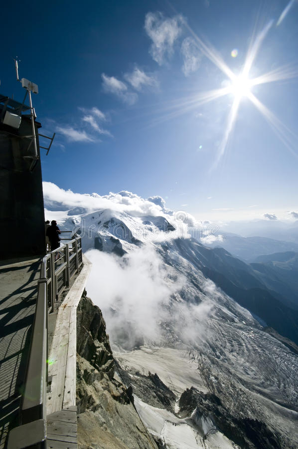 Mont Blanc. Peak seen from Aiguille du Midi stock images