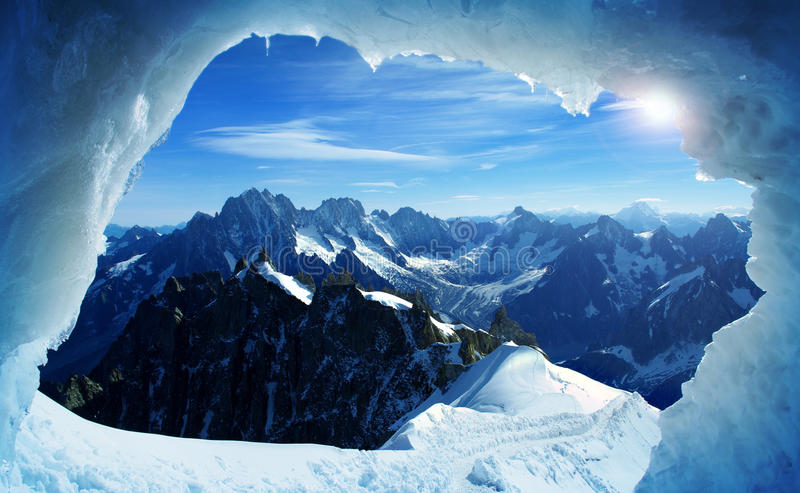 Mont Blanc. A hole in the great Mont Blanc stock photo