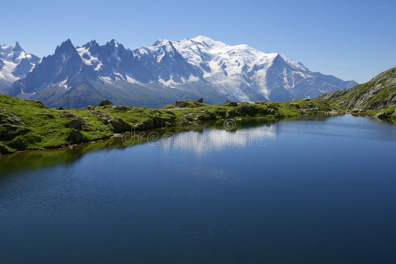 Mont Blanc. Reflected in Cheserys Lake,  Massif, Alps, France stock image