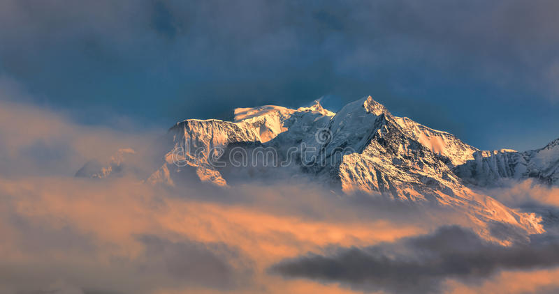 Mont Blanc. Above the clouds in winter at the sunset stock photo