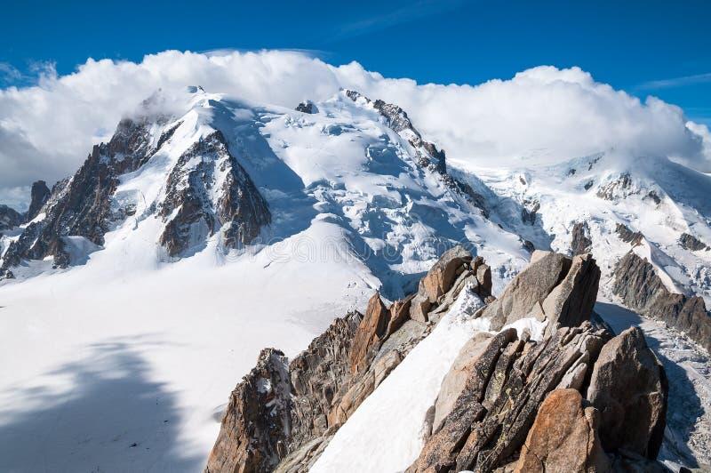 Mont Blanc, Aiguille du Midi, Lodowiec obrazy stock