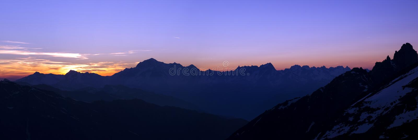 Mont Blanc. Alps panorama of Mont Blanc at sunset stock image