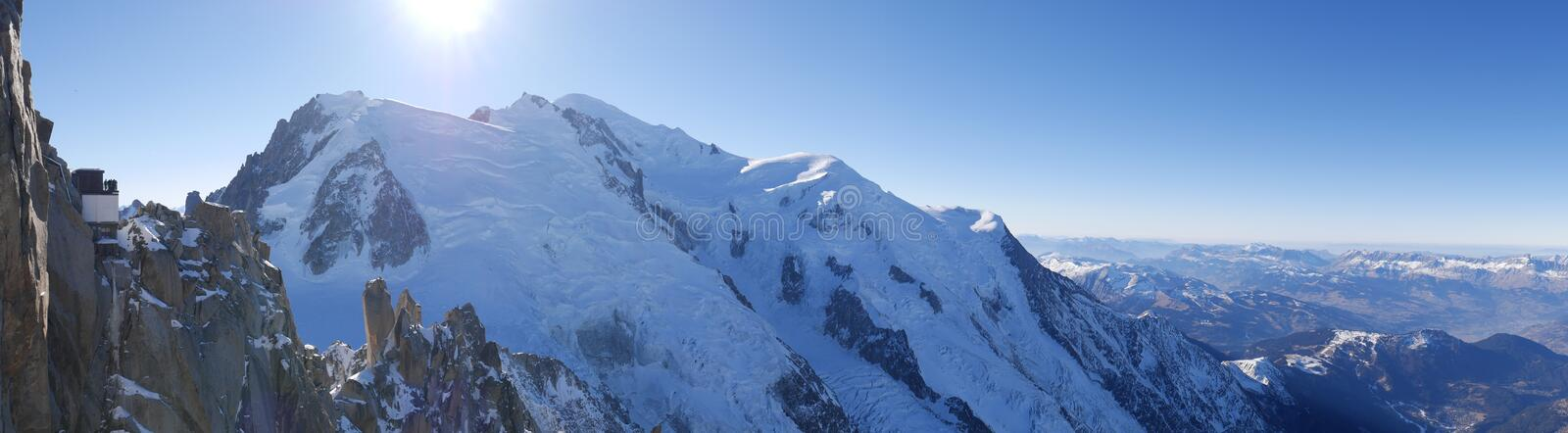 Mont blanc cosmique arete. Mont blanc and cosmique arete. Panoramic royalty free stock photos