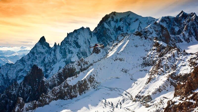 Mont Blanc, Courmayeur, helcopter στοκ φωτογραφία
