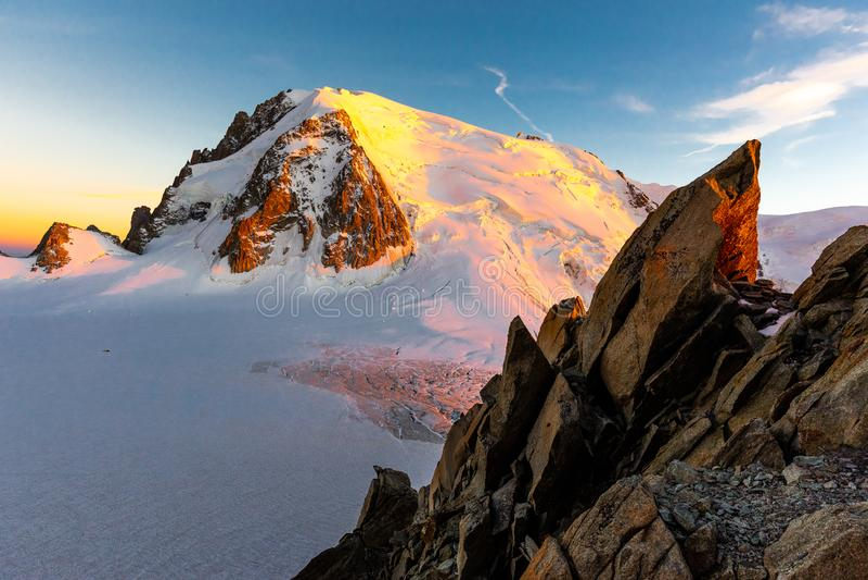 Mont Blanc du Tacul sunset evening mountain peak view stock image
