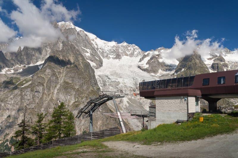Mont Blanc e teleferica fotografia stock