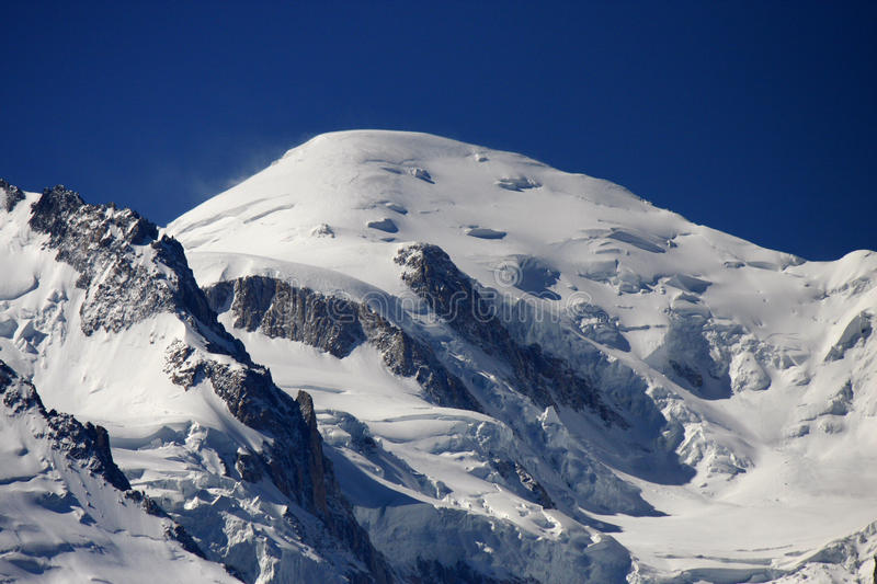 Mont Blanc. The highest mountain in the Alps: the Mont Blanc with the Glacier des Bosson, Chamonix, France stock photos