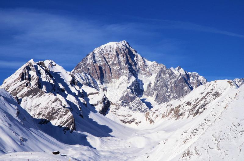 Mont Blanc Italian Alps. Beautiful Mont Blanc landscape in La Thuile, Italian Alps stock photos