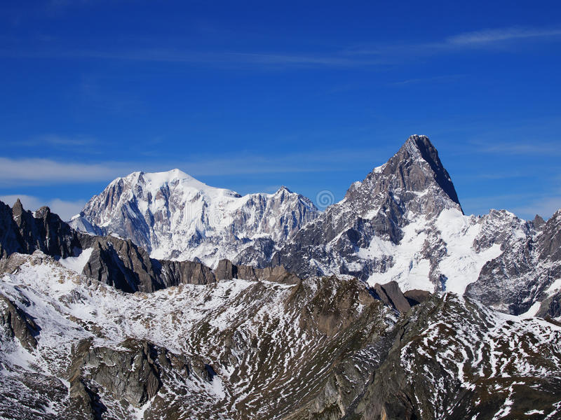 Mont Blanc Jorasses i Grandes zdjęcia royalty free