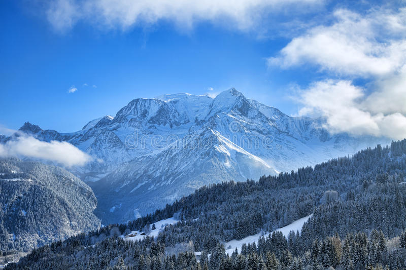 Mont Blanc Massif. Beautiful winter landscape with Mont Blanc Massif in the distance royalty free stock image
