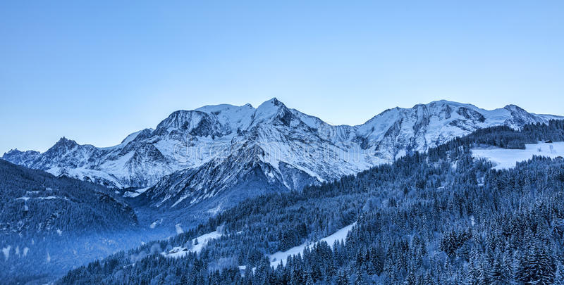 Mont Blanc Massif. North image of Mont Blanc Massif with the highest European peak royalty free stock photo