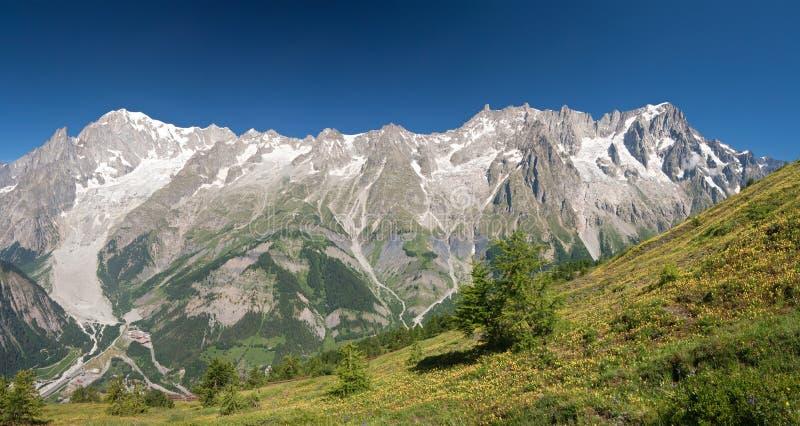 Mont Blanc massif panorama royalty free stock photos