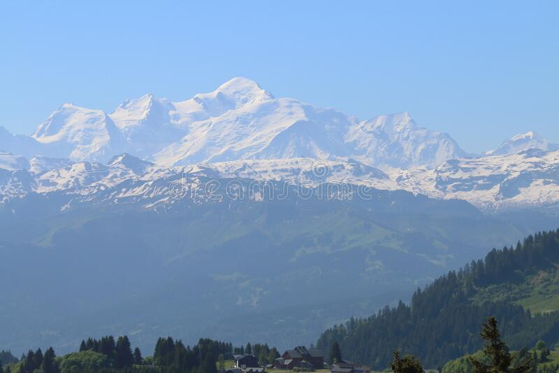 Mont Blanc massif, seen from the french D308 royalty free stock image