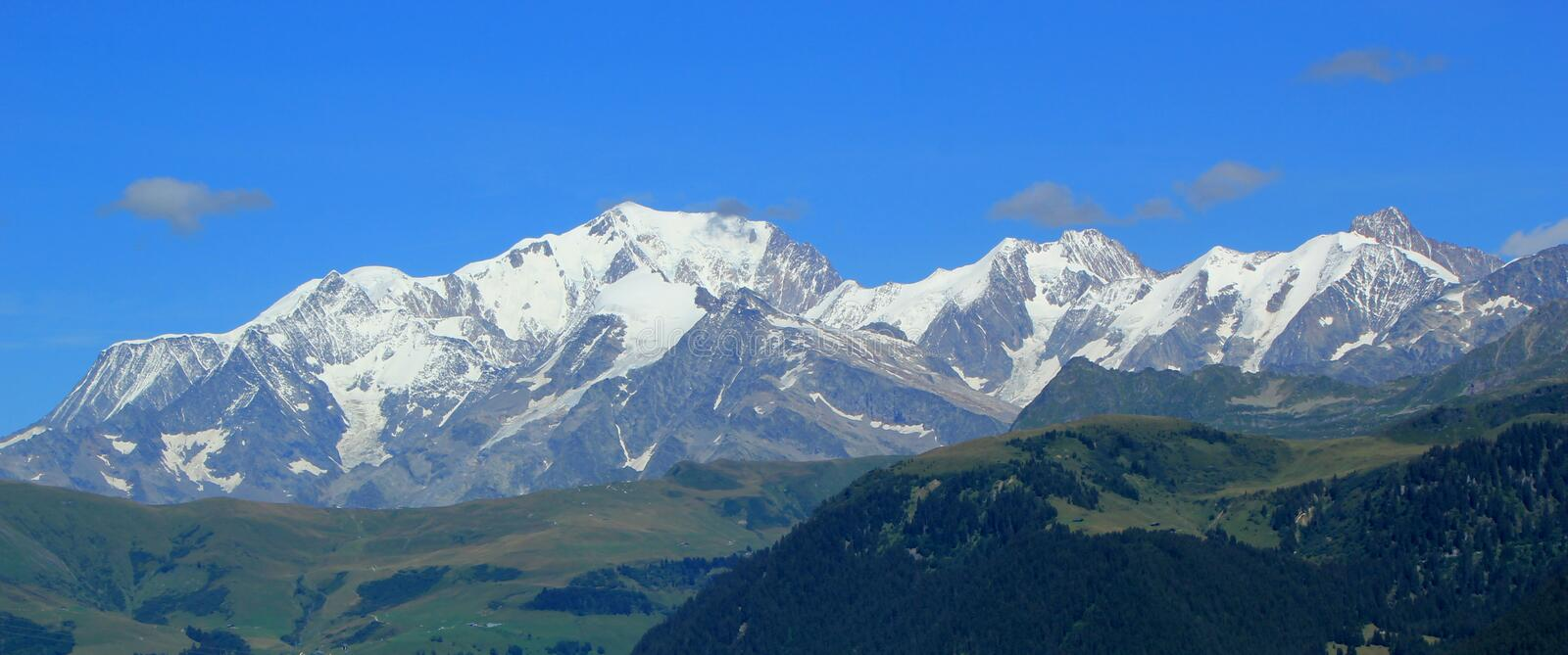 Mont-Blanc mountains by summer, France stock photos