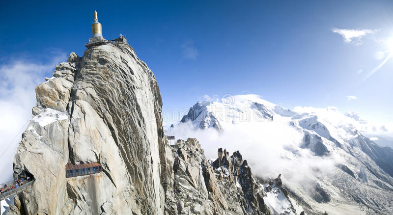 Mont Blanc panorama. Mont Blanc peak seen from Aiguille du Midi. Wide panorama royalty free stock photo
