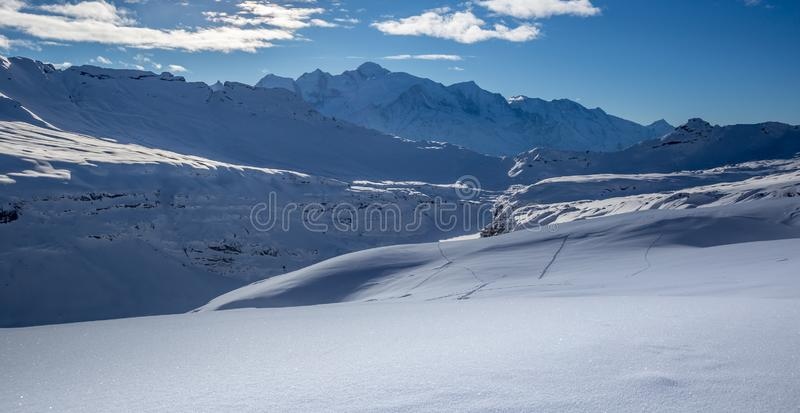 Mont Blanc panorama. View of Europe`s highest mountain - Mont Blanc from Grand Massif, Flaine, France stock photo