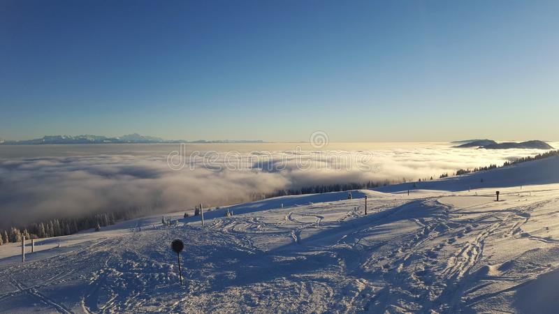 Mont Blanc, seecloud and Jura Mountains. Beautiful day in switzerland looking to the alps and the Mont Blanc royalty free stock photography