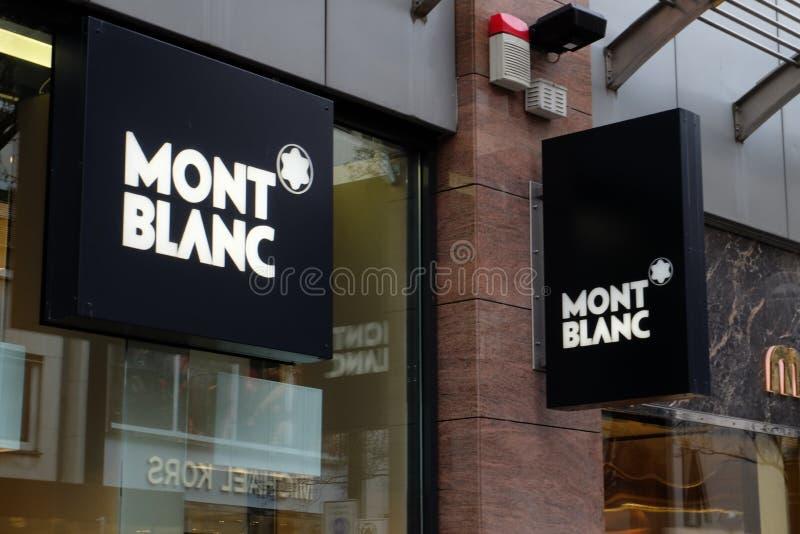 Mont Blanc Shop Logo em Francoforte imagem de stock royalty free