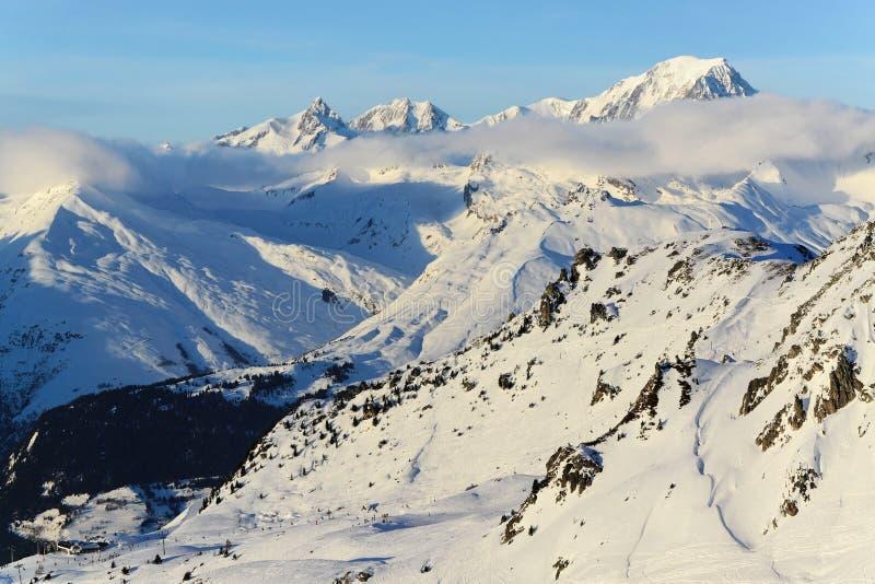Download Mont Blanc and ski slopes stock image. Image of highest - 28843589